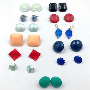 12 pair colorful vintage pierced earrings